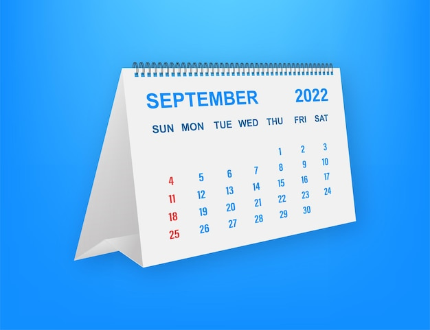 Folha de calendário de setembro de 2022. calendário 2022 em estilo simples. ilustração vetorial.