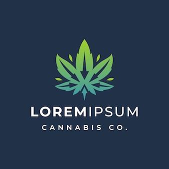 Folha de cannabis com modelo de logotipo de seta