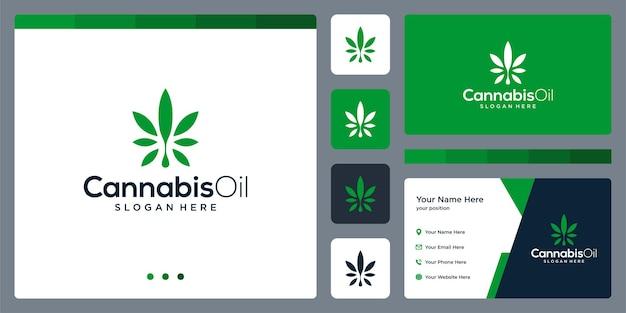 Folha de cannabis e inspiração de design de logotipo de óleo.