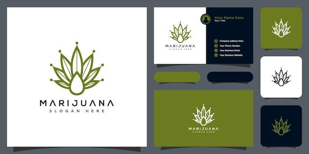 Folha de cannabis e logotipo do óleo para produtos médicos e farmacêuticos