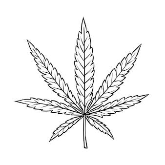 Folha de cannabis em estilo vintage gravado para fumar ou remédio