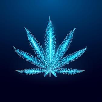 Folha de cannabis. estilo de wireframe de baixo poli.