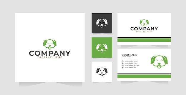 Folha de cão ou inspiração de design de logotipo de natureza de cão e cartão de visita