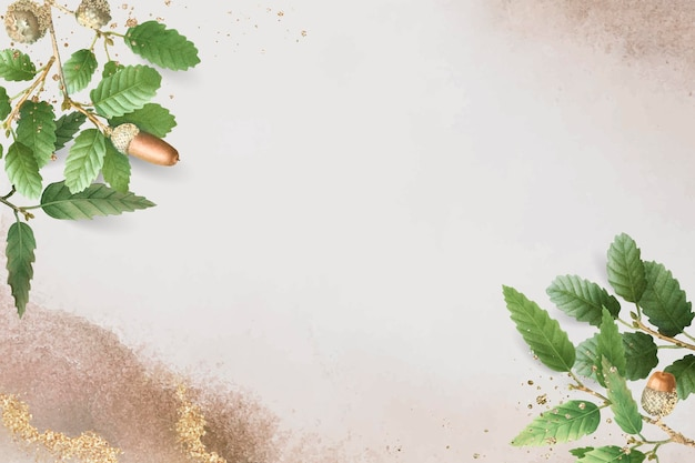 Folha de carvalho desenhada à mão em fundo bege