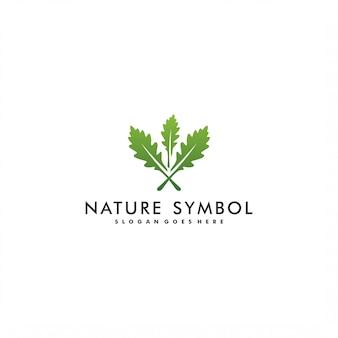 Folha de carvalho logotipo modelo design ilustração