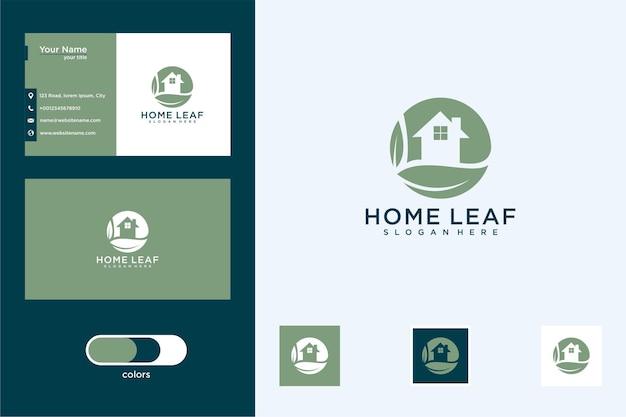 Folha de casa com logotipo de desenho de círculo e cartão de visita