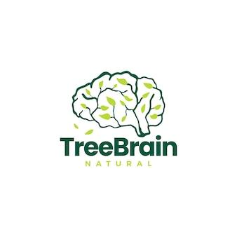 Folha de cérebro de árvore ideia inteligente pense em ilustração de ícone de vetor de logotipo
