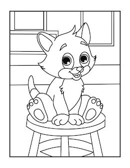 Folha de colorir para crianças - cute cat coloring pages