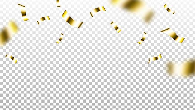 Folha de confete festa evento dourado decoração vetorial. falling decorativo glitter folha confete, comemoração de ano novo, fitas voadoras. ornamental festival acessório template ilustração 3d realista