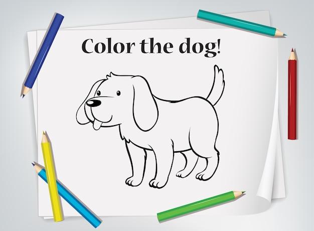 Folha de exercícios para colorir cães infantis
