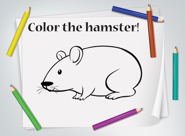 Folha de exercícios para colorir de hamster infantil