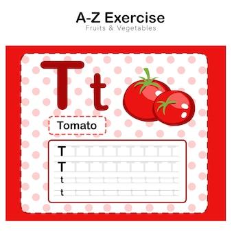 Folha de exercícios para crianças, alfabeto t. exercício com ilustração de vocabulário dos desenhos animados, tomate