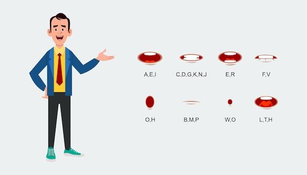 Folha de expressão de sincronização labial de personagem para animação.