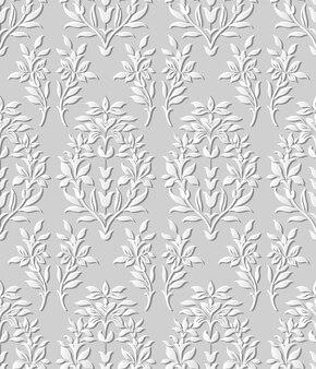 Folha de flores de jardim de natureza 3d padrão sem emenda