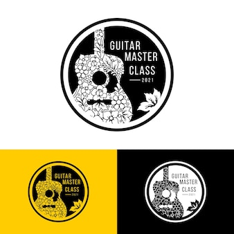 Folha de guitarra e logotipo de flor para curso de guitarra ou logotipo do festival