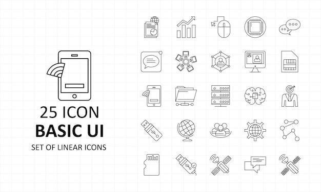 Folha de ícone da interface do usuário básica pixel perfect icons