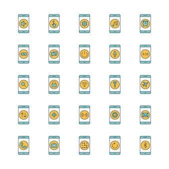 Folha de ícones de 25 aplicativos móveis isolada