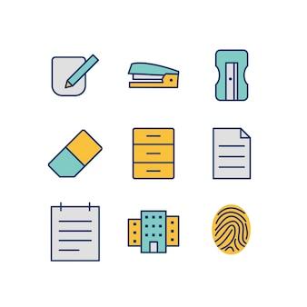 Folha de ícones de escritório isolada no fundo branco
