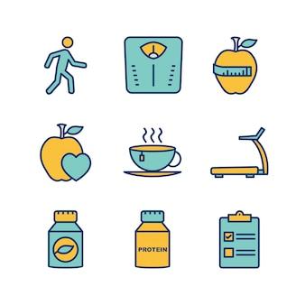 Folha de ícones de saúde isolado no fundo branco