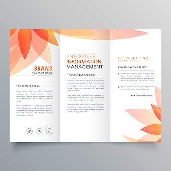 Folha de laranja bonita tri fold business brochure vector design
