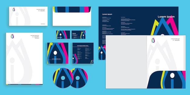 Folha de logotipo colorido abstrato da letra i identidade corporativa moderna estacionária