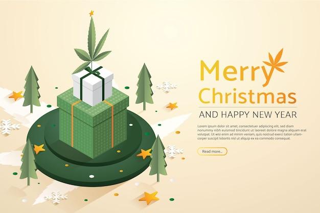 Folha de maconha com conjunto de caixas de presente grandes no verde do pódio feliz natal e feliz ano novo
