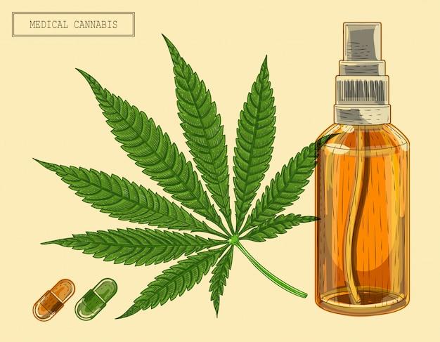 Folha de maconha medicinal e frasco e comprimidos