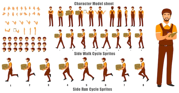Folha de modelo de caractere de pessoa de courier com ciclo de caminhada e sequência de animação de ciclo de execução