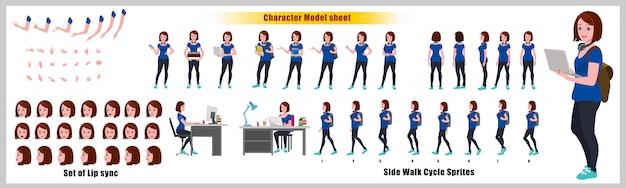 Folha de modelo de design de personagem de aluna com animação de ciclo de caminhada. design de personagens de menina. frente, lado, vista traseira e poses de animação explicador. conjunto de caracteres com várias visualizações e sincronização labial