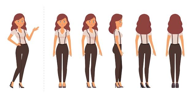 Folha de modelo de mulher elegante poses e visualizações diferentes para animação