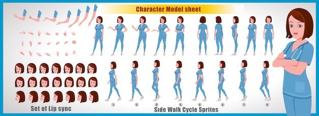Folha de modelo de personagem feminino médico com animações de ciclo de passeio e sincronização labial