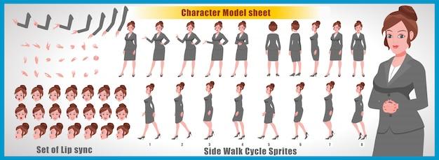 Folha de modelo de personagem young girl com animações de ciclo de caminhada e sincronização labial