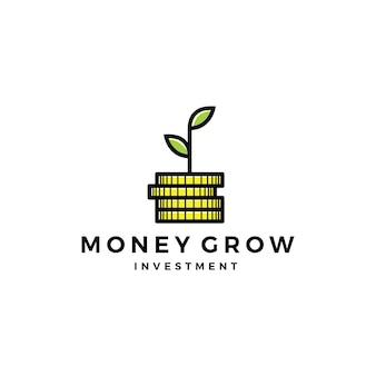 Folha de moeda brotar dinheiro crescer ícone de logotipo de investimento