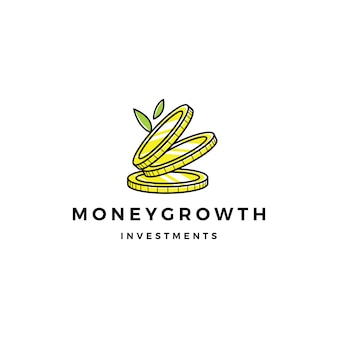 Folha de moeda brotar logotipo de investimento de crescimento de dinheiro