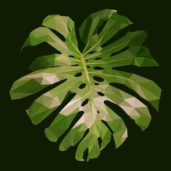 Folha de monstera verde poligonal