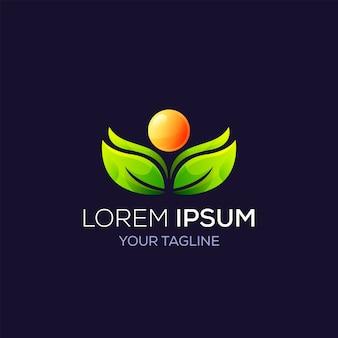 Folha de natureza de logotipo e sol para produtos de marca de negócios, cosméticos, saúde, spa