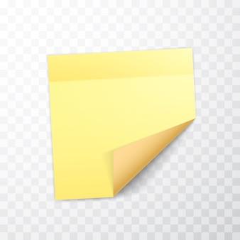 Folha de notas de cor amarela com canto enrolado e sombra