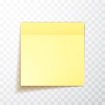 Folha de notas de cor amarela com sombra