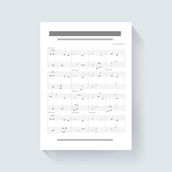 Folha de notas de música compor música ícone ilustração vetorial