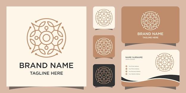Folha de ornamento com logotipo de estilo de arte de linha e cartões de visita