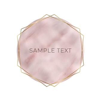 Folha de ouro rosa com moldura dourada geométrica
