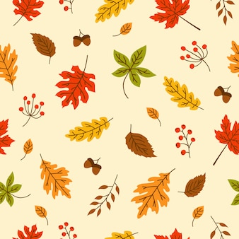 Folha de outono sem costura padrão para papel de parede