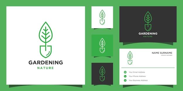 Folha de pá, jardim, botânica, natureza, semente, design de logotipo de linha de planta com cartões de visita.
