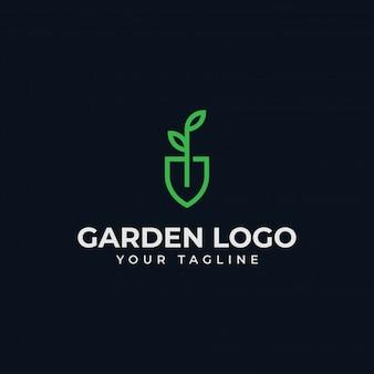 Folha de pá, jardim, botânica, natureza, semente, design de logotipo de linha de planta