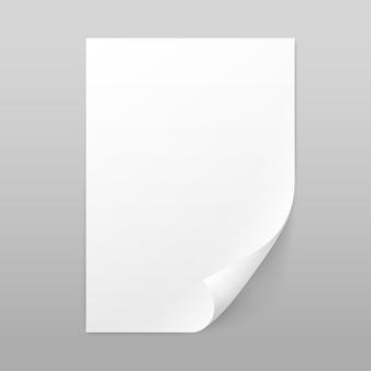 Folha de página de papel em branco branco de vetor com canto curl isolado na