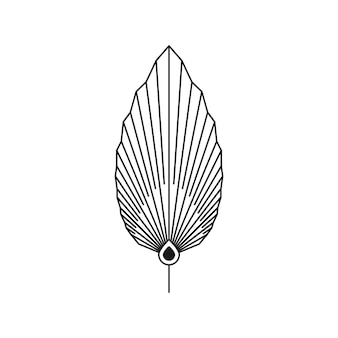 Folha de palmeira abstrata em estilo moderno de forro mínimo. emblema de boho de folha tropical seca de vetor. ilustração floral para criar logotipo, estampa, camisetas e estampas de parede, tatuagem, postagem em mídia social e histórias