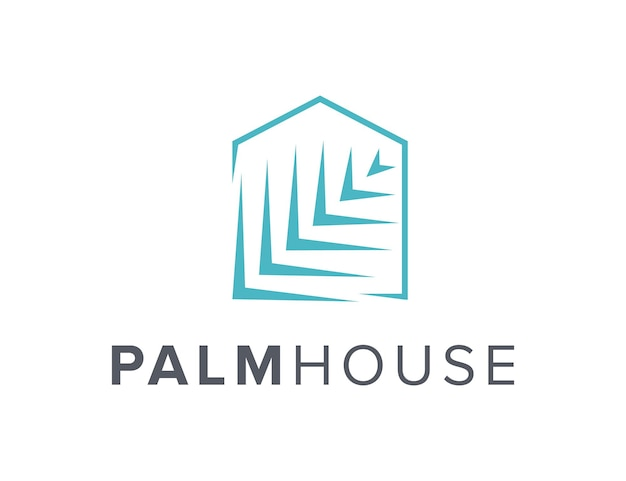 Folha de palmeira e contorno da casa simples, elegante, criativo, geométrico, moderno, logotipo