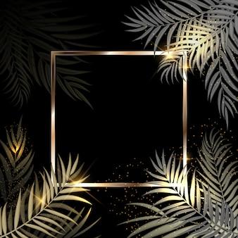 Folha de palmeira linda fundo de silhueta dourada com moldura