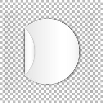 Folha de papel autocolante redondo em branco com curl
