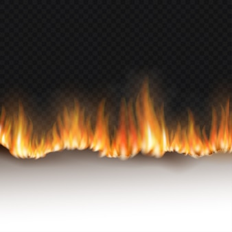 Folha de papel branca em chamas isolada em um fundo preto